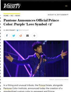 Pantone annonce la création d'une teinte officielle pour Prince